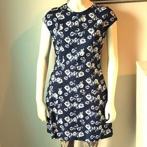 GAP Navy Floral Cap Sleeve Dress